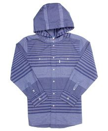 Levi's Full Sleeves Hooded Shirt Stripe Design - Blue