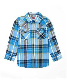 Levi's Full Sleeves Checks Shirt - Light Blue