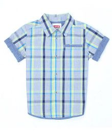 Levi's Half Sleeves Checks Shirt - Light Blue