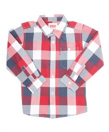 Levi's Full Sleeves Checks Shirt - Blue Red