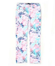 Levi's Full Length Butterflies Print Trouser - Blue Pink