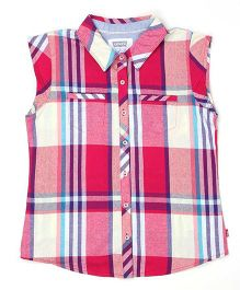 Levi's Sleeveless Checks Shirt - Red