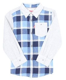 Levi's Full Sleeves Plain And Checks Shirt - Blue Grey