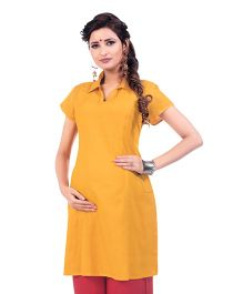 Kriti Short Sleeves Maternity Kurti - Yellow