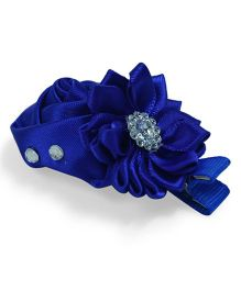 Little Miss Cuttie Flower & Rose Design Diamond Applique Hair Clip - Royal Blue