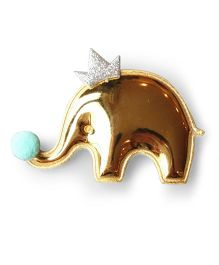 Little Miss Cuttie Crown Elephant Applique Hair Clip - Gold