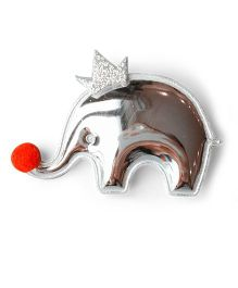 Little Miss Cuttie Crown Elephant Applique Hair Clip - Silver