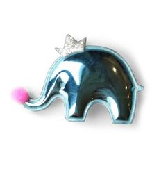 Little Miss Cuttie Crown Elephant Applique Hair Clip - Blue
