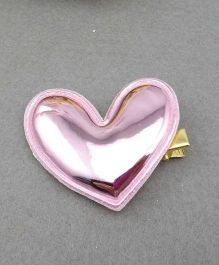 Little Miss Cuttie Heart Applique Hair Clip - Pink - Pink