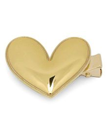 Little Miss Cuttie Heart Applique Hair Clip - Pink - Gold