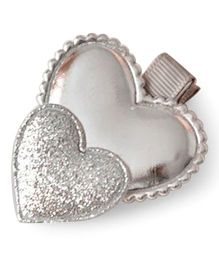 Little Miss Cuttie Double Heart Applique Hair Clip - Silver
