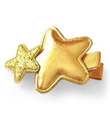 Little Miss Cuttie Double Star Applique Hair Clip - Gold