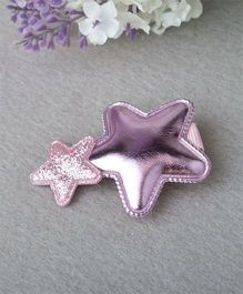 Little Miss Cuttie Double Star Applique Hair Clip - Pink
