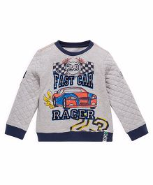Mothercare Full Sleeves Winter Wear T-shirt Car Print - Grey