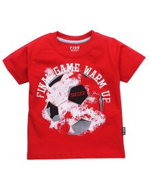 Fido Half Sleeves Tee Soccer Print - Red