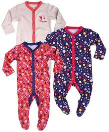 Mothercare Full Sleeves Sleep Suit Set of 3 - Grey Coral Navy