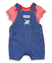 Mothercare Dungaree With Inner Onesie Airplane Design - Blue Red