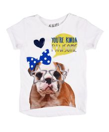 Mothercare Half Sleeves Tee You Are Kind A Pawsome Print - White