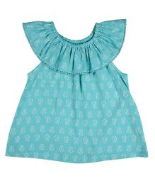 Mothercare Sleeveless Printed Round Neck Top - Blue