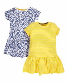 Mothercare Short Sleeves Frocks Floral & Stripes Print Pack Of 2 - Yellow & Blue