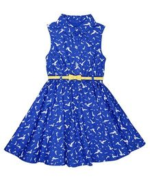 Mothercare Sleeveless Collar Neck Frock With Belt - Blue