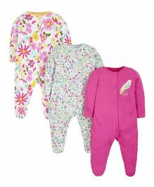 Mothercare Full Sleeves Footed Sleepsuits Pack of 3 - White Dark Pink Light Green