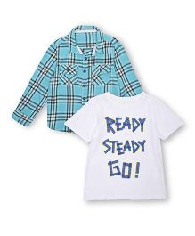 Mothercare Full Sleeves Check Shirt And Half Sleeves T-Shirt - Sky Blue White