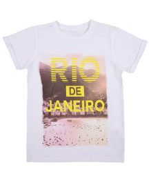 Mothercare Half Sleeves T-Shirt Rio Print - White