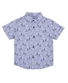 Mothercare Half Sleeves Shirt With Boat Print - Blue