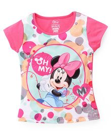 Eteenz Short Sleeves Polka Dot Top Minnie Mouse Print - Pink