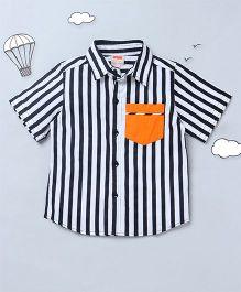Hugsntugs Stripe Shirt With Front Pocket - Black & White