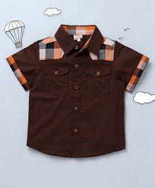 Hugsntugs Check Print Shirt - Brown