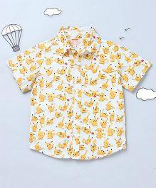 Hugsntugs Floral Print Shirt - White & Yellow