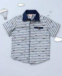 Hugsntugs Whale Print Shirt - White & Navy Blue
