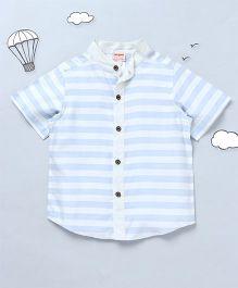 Hugsntugs Horizontal Stripe Shirt With Chinese Collars - Blue & White