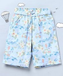 Hugsntugs Beach Print Shorts - Blue