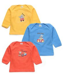 Cucumber Full Sleeves Animal Printed Set Of 3 Vests - Orange Blue Yellow