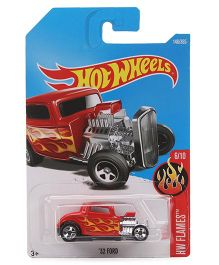 Hot Wheels Flames 32 Ford Toy Car - Red