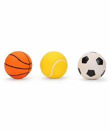 Ratnas Squeaky Toys Sports Ball 3 Pieces - Orange Yellow White