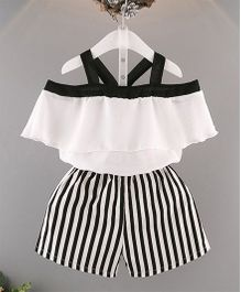 Pre Order - Awabox Cold Shoulder Top & Striped Shorts - White