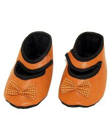 SnugOns Mary Jane Style Booties With A Bow - Brown
