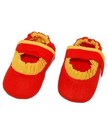 SnugOns Mary Jane Style Booties With Lace Design - Orange & Yellow