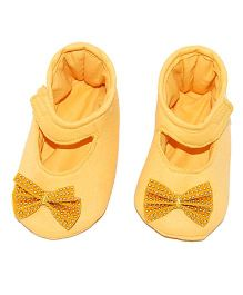 SnugOns Mary Jane Style Booties With A Bow - Yellow