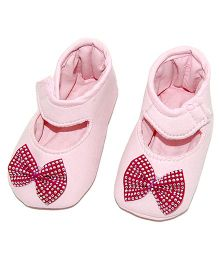 SnugOns Mary Jane Style Booties With A Bow - Light Pink