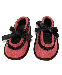 SnugOns Tie Up Booties With Lace Design - Peach