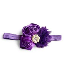 Milonee Headband With Cluster Of Flowers & Pearl Applique - Purple