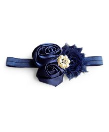 Milonee Headband With Cluster Of Flowers & Pearl Applique - Navy Blue