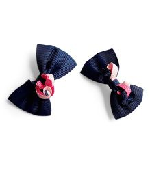 Milonee Bow Clips With Curls - Navy Blue