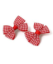 Milonee Checked Bow Clips Set Of 2 - Red
