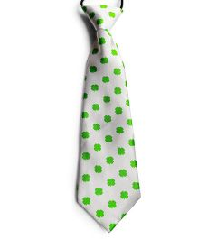 Milonee Clover Leaf Print Neck Tie - White